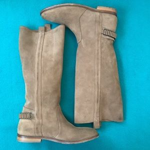 Ksubi Tall Suede Boots w Covered Chain Detail Heel
